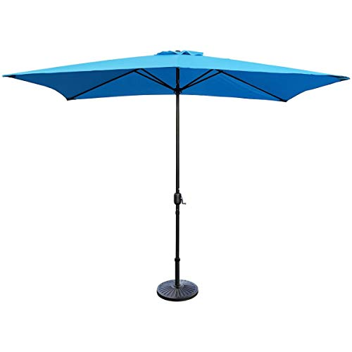 ABBLE Outdoor Patio Umbrella 10Ft x 6.5 Ft Rectangular with Crank, Weather Resistant, UV Protective Umbrella, Durable, 6 Sturdy Steel Ribs, Market Outdoor Table Umbrella, Aqua