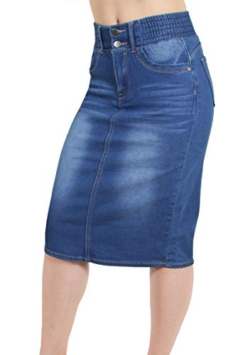 Women's Juniors Butt Lifting Pencil Denim Midi Skirt with Elastic Waist in Washed Blue Size XL