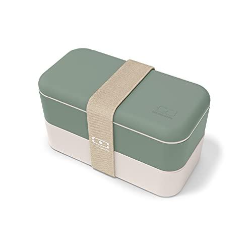 monbento - MB Original Natural Green Bento Box Made in France - Brotdose grün mit 2 Fächer - Lunch Box perfekt für Büro/Meal prep/Schule