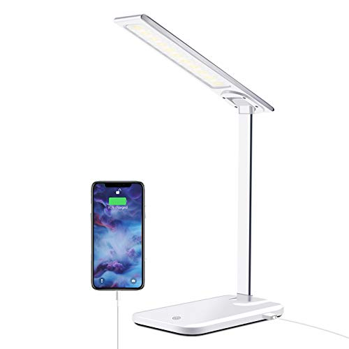 GSBLUNIE LED Desk Lamp with USB Charging Port, Dimmable Office Lamp,3 Lighting Modes 6 Brightness Levels, Touch Control,Eye-Caring Table Lamp for Studying,Working, Reading (Adapter Included)