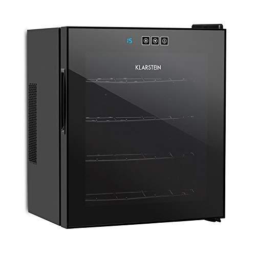 Klarstein Vinarium - Weinkühlschrank, Getränkekühlschrank, 14 Liter, 4 Flaschen, 4 Regaleinschübe, 12-18° C, Touch-Bedienung, Glastür, Innenbeleuchtung, hängend, Wandmontage, schwarz