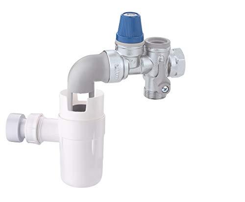 Caleffi 526153 Sicherheitsgruppe für Warmwasser-Speicher für Horizontale Installation 3/4 Zoll mit Absperrung, Kontrollierbarem Rückschlagventilf und Entleerungssiphon