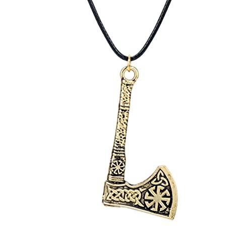 HAWFHH Colgante de Collar Vikingo para Hombres, Colgante de Martillo de Thor Vikingo Nudo Celta Martillo de Thor, Collar Vikingo de Runas Vikingas Nórdicas