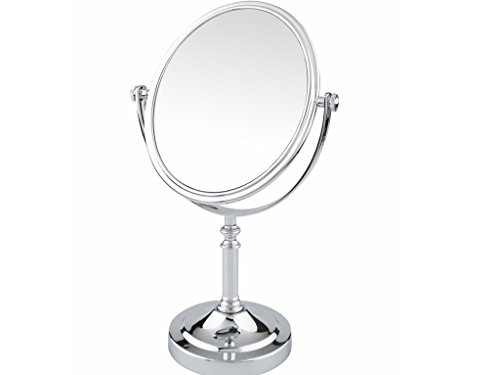 Pinkzio Double Sided Swivel Vanity Mirror with 3 x Magnification, Oval Shaped -