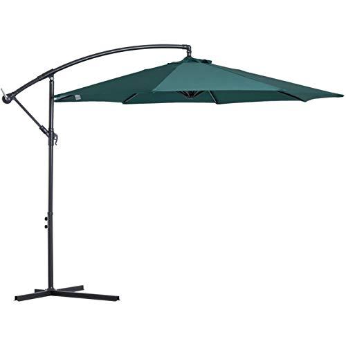 Manivela de Mano inclinable para Paraguas de Mercado de Paraguas de Patio con compensación para Exteriores Premium de 10 pies con Base (Color : Green)