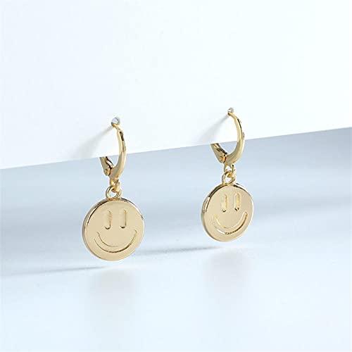Moda Popular Diseño De Joyería Metal Sonrientes Pendientes Pendientes Mini Aro Oreja yangain (Color : Gold-Color)