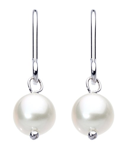 Dew Women's Sterling Silver and Cream Freshwater Pearl Drop Earrings