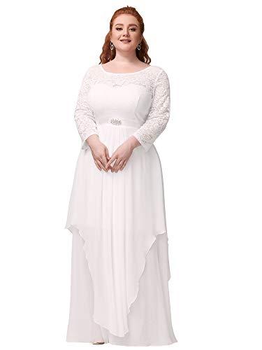 Ever-Pretty Women's Classic Floal Lace 3/4 Sleeve A Line Empire Waist Elegant Chiffon Wedding Dress for Bride White 18UK