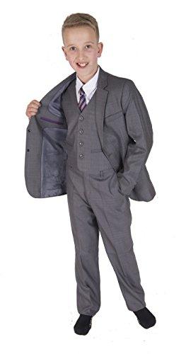 Cinda 5 Stück Grau Boy Anzüge Hochzeit Anzug Junge Seite Partei-Abschlussball -Klagen Hellgrau 3-4 Jahre