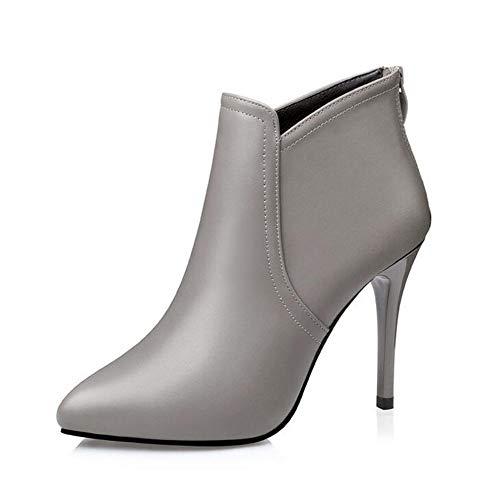 OOFAY Damen High Heels/Sexy Elegante Stiefeletten / 10Cm High Heel Lederstiefel/Spring and Autumn Ankle Boots 34-39,Grau,38