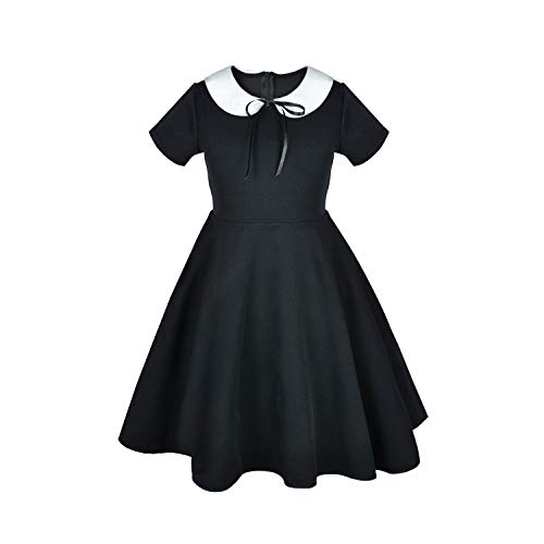 Girl's Short Sleeve Casual Vintage Peter Pan Collar Fit and Flare Skater Party Dress 2-12 Years