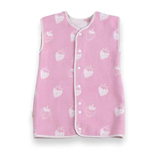 はぐまむ hugmamu® 日本製 綿毛布 スリーパー 秋 冬 着る毛布 (イチゴ ピンク, ベビー 2way 39×55)6811-01