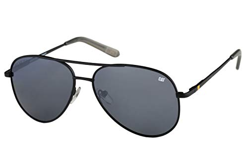 Caterpillar Mansard Polarized Sunglasses Pilot, Rubberized Matte Black, 59 mm