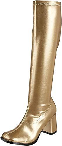 Funtasma by Pleaser Women's Gogo-300 Boot,Gold Stretch,7 M