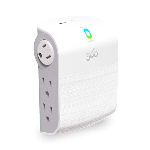 360 Electrical 360557 Sideline 2.4 Revolve Edition Surge Protector Wall Tap with 2.4A(12W) USB – Side Facing, Rotating Outlets Fit Large Plugs Behind Furniture