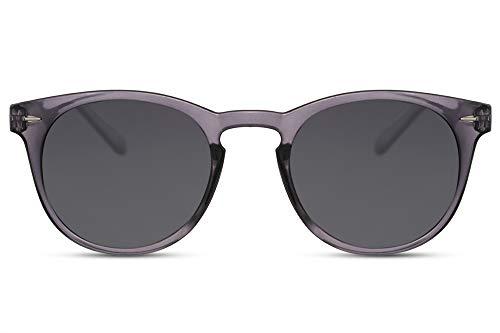 Cheapass Sonnenbrille Rund Grau Transparent UV-400 Getönt Hipster-Brille Festival Plastik Damen Herren