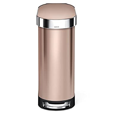 simplehuman 45Liter/12 Gallon Stainless Steel Slim Kitchen Step Trash Can with Liner Rim, Rose Gold Stainless Steel