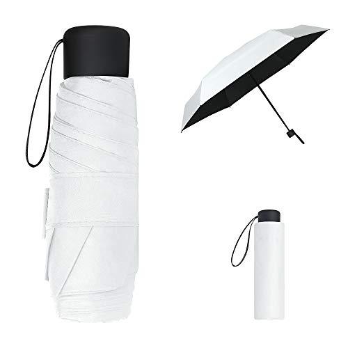 Vicloon Mini Paraguas del Sol,Paraguas de Viaje Portátil con Diseño de Esqueleto Mejorado y 210T Negro Tela de Goma, Paraguas Plegables y Compacto Resistencia UV & Impermeable (Blanco)