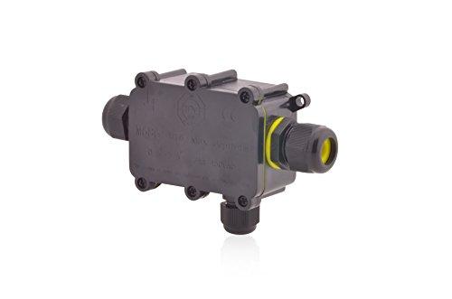 Verteilerdose Wasserdicht | IP68 | 24A 450V AC | 3 Öffnungen | Kabelquerschnitte: M20 5-9mm + M12 4-8mm | Installationsgehäuse Wege Dosenmuffe Verbindungsdose Erdkabel Verbindungsbox Verbindungsmuffe
