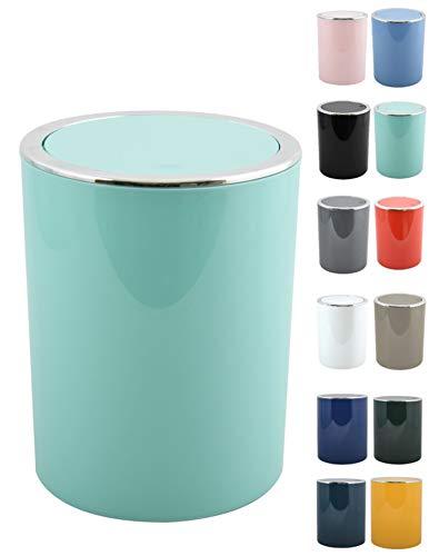 MSV Bad Serie Aspen Design Kosmetikeimer Bad Treteimer Schwingdeckeleimer Abfallbehälter mit Schwingdeckel 6 Liter (ØxH): ca. 18,5 x 26 cm Pastell Grün