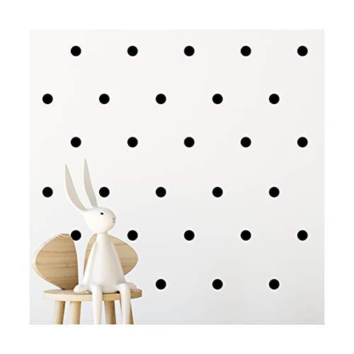 Adhesivo de pared (112 alcomanías) | ácil de despegar + seguro en paredes pintadas | Vinilo extraíble decoración de lunares | egatina redonda grande (negra)