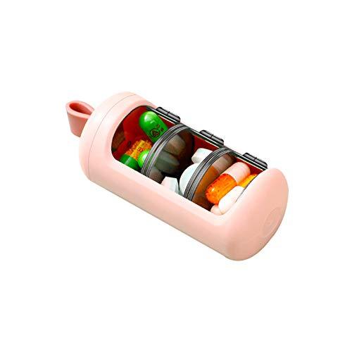 rismart 3 Scomparti Quotidiano Portapillole, Portatile Piccolo Contenitore Porta Medicinali & Vitamina Per un Giorno, Rosa