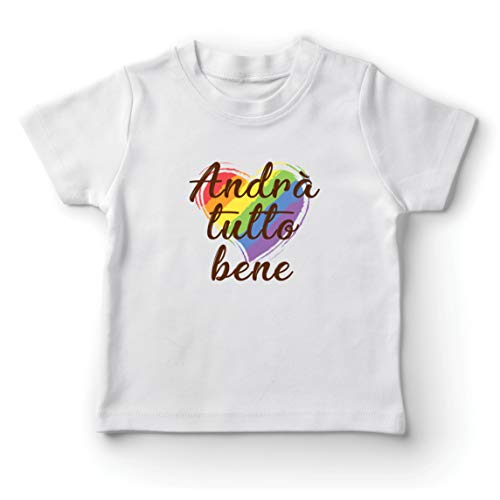 lepni.me Camiseta para Niño/Niña Andrà Tutto Bene - Todo Estará Bien Arcoiris de Esperanza (7-8 Years Blanco Multicolor)