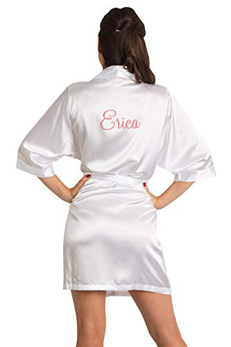 Zynotti Women's Personalized Embroidered Satin Robe White Satin Robe S/M