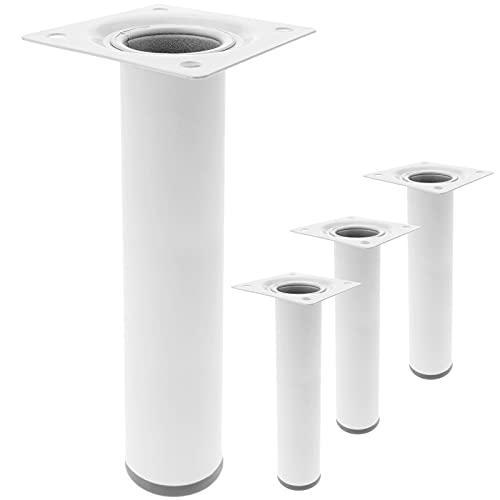 PrimeMatik - Pies Redondos para Mesa y Mueble. Patas en Acero Blancas de 25cm 4-Pack