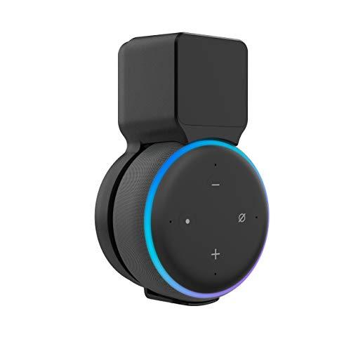 Stouchi Echo Dot Soporte de Pared Compatible con Echo Dot 3ª generación Socket Hanger Bracket Case, gestión de Cable integrada, Puerto de Audio Disponible (Negro)