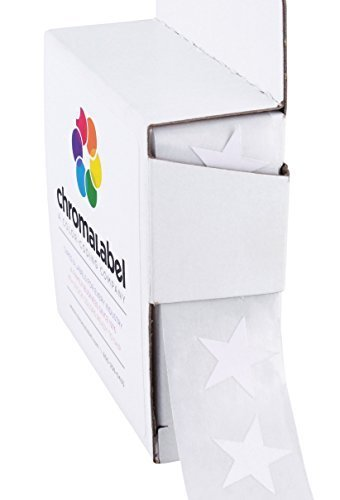 ChromaLabel 3/4 Inch Color Code Star Labels, 1000 Dispenser Box, White