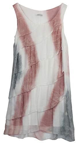 BZNA Ibiza Batik Empire Stufenkleid Sommerkleid Rosa Weiß Grau 100% Seidenkleid Bozana Sommer Herbst Seidenkleid Damen Dress Kleid elegant