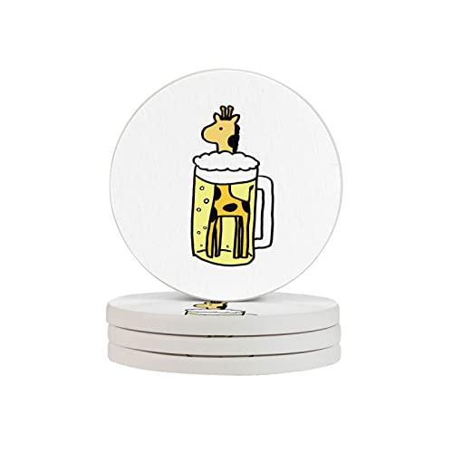 BCLYPBO Juego de 4 posavasos redondos con diseño de jirafa y cerveza, posavasos decorativos para café, té, cerveza, copas de vino, cocina y bar