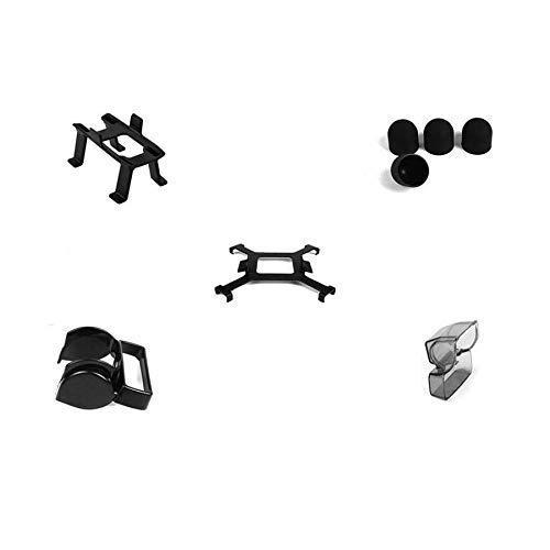 Accesorios para drones 5 en 1 para DJI Spark, kit de accesorios, patas de tren de aterrizaje con tapa de motor, cubierta de lente de cardán y bloqueo de hélice, parasol de lente, accesorios para cuadr