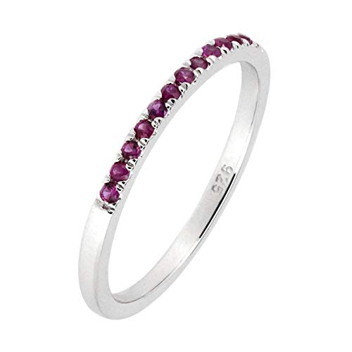 Sterling Silver Genuine Natural Ruby Half Eternity Band Ring