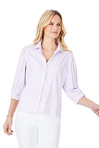 Foxcroft Lavendar Stripe Stretch Non-Iron Shirt, Lavendar, 10