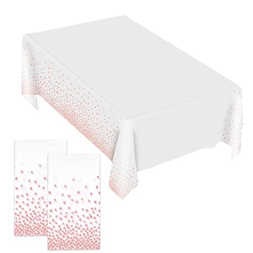 2Piezas Mantel de Mesa, Mantel de Mesa Rectangular 137*274cm, Manteles Rectangulares de Lunares, Manteles de Plástico Desechables para Banquetes Fiestas Navidad Bodas Picnics Cumpleaños - Blanco