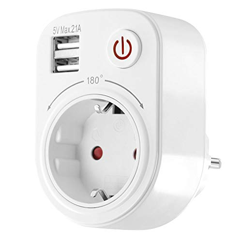 Adattatore per presa USB, 2100 mA, girevole, orientabile, protezione bambini, adattatore da viaggio, bianco
