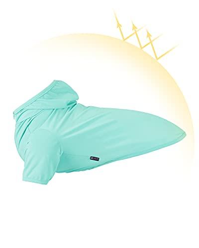 Dociote Hundekleidung T-Shirt mit Kapuze Hund Kapuzenpullis Mantel Pullover Sonnenschutz Kleidung für kleine & mittelgroße Hunde Sommer Blau M