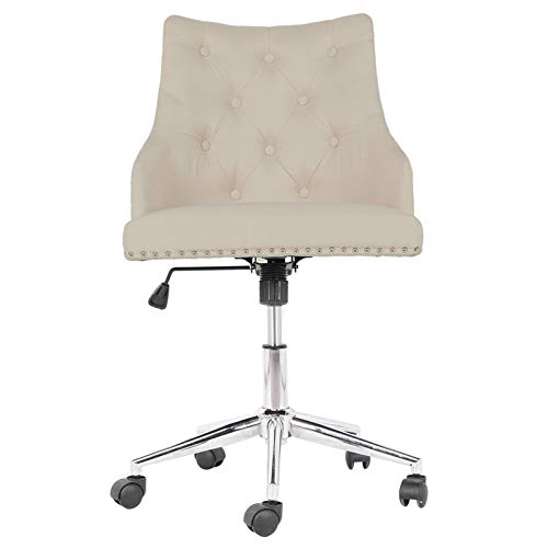 GOTOTOP Silla de oficina de color beige con ajuste de altura, moderna silla giratoria de 360 grados, sillas suaves con ruedas