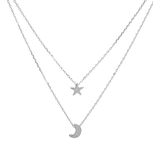 Gbell Simple Women's Doublelayer Necklace Star and Moon Pendant Necklace - Fashion Gold Silver Neck Chains Choker for Teen Girls Ladies Women Party Ball Date Jewelry