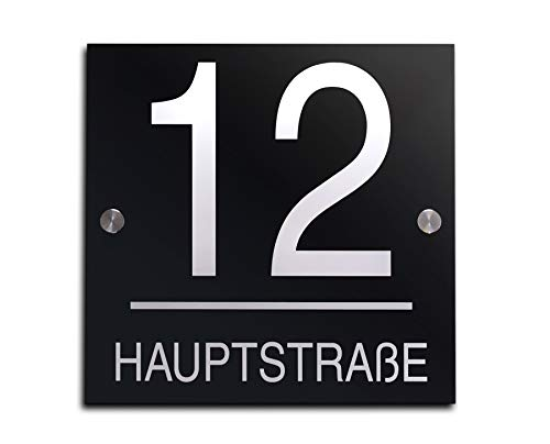 Hausnummer mit Gravur Straße und Ziffern Zahlen wetterfest in versch. Größen ab 16x16 cm quadtratisch Edles Hochglanz Acrylglas in schwarz und anthrazit Hausnummern Schild für Garten Haus