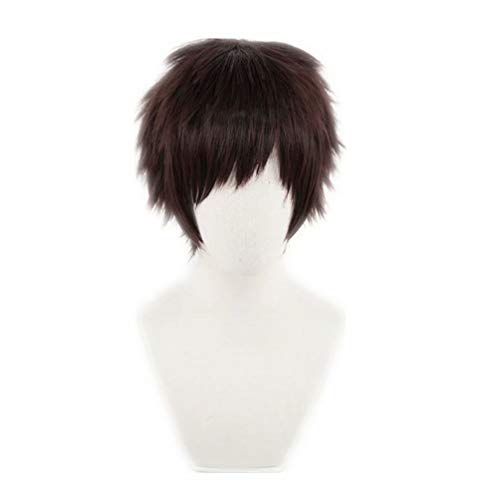 COSPLAZA Brown Short Layered Hair for Man Boy Overhaul Hero Animation Character Halloween Party Cosplay Wigs