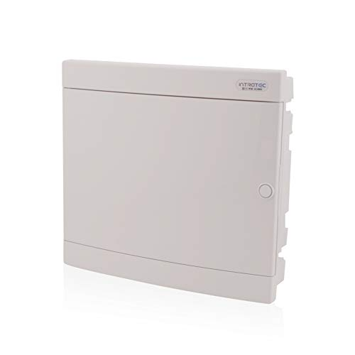 UP-Sicherungskasten 2-reihig für 36 Module Unterputz mit DIN Schiene transparente Tür IP40 für die Trockenraum Installation im Eigenheim