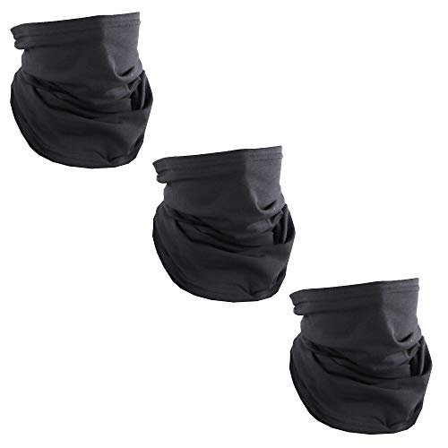 Solid Black USA Made Cotton Neck Gaiter Face Mask Bandana Tube Scarf - Set of 3