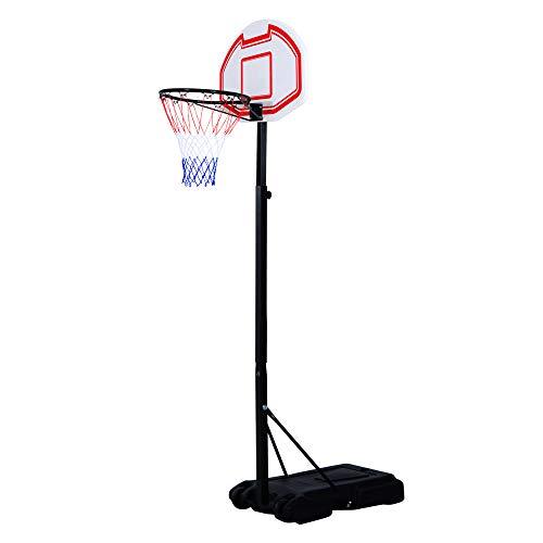 HOMCOM Canasta de Baloncesto Plegable y Ajustable en Altura Basket con Red Canasta de Baloncesto Plegable Altura Ajustable 155-210 cm Basket Red y Tablero