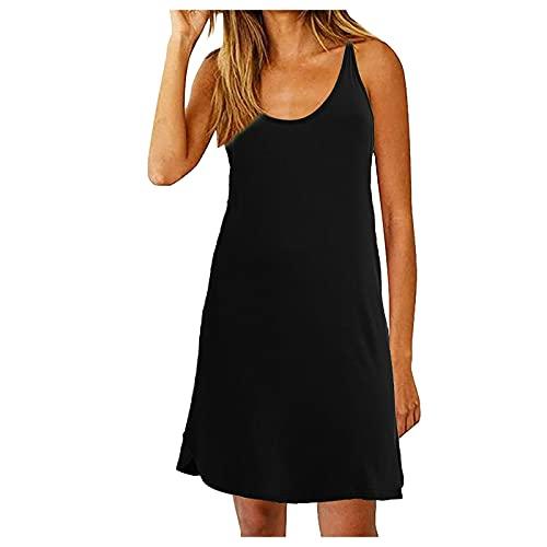 Generic Robe Mini Femme 2021 Mode Robe Ete Robe Dos Nu Droite Robe sans Manches Shirt Robe à Bretelles Fines Casual ete Plage Robe Débardeur Simple
