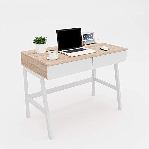DGHJK Muebles para el hogar, Escritorio de computadora de Escritorio para el hogar nórdico, Escritorio de Aprendizaje con 2 cajones, Banco de Trabajo, Mesa de Oficina (Color: A, tamaño: 100 cm)