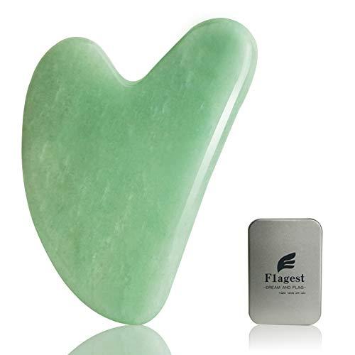 Gua Sha Gesichtsbehandlung mit Jade Natur-Stein Herzform Guasha Board Kratz-Massage Tool Anti-Falten Werkzeug für Gesichts-Scraping SPA-Akupunktur Therapie Triggerpunkt Anti-Aging (Jade)