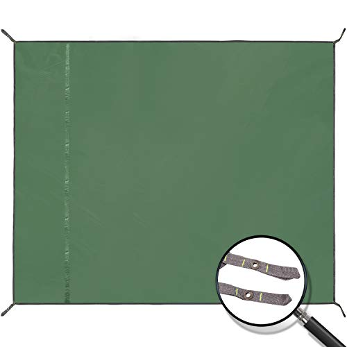 "REDCAMP Waterproof Camping Tarp Lightweight to Cover Sun or Rain, Large Compact Tent Tarp Footprint for Ground or Under Tent, Green 95""x83"""